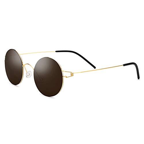 DKee Gafas de Sol Gafas De Sol UV400 Sin Tornillos, Titanio, Vintage, for Hombres Y Mujeres, Gafas De Sol Ultraligeras, Lentes De Nylon De Alta Definición