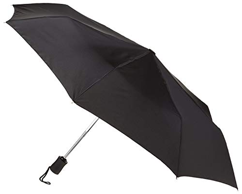 Lewis N. Clark Travel Umbrella: Windproof & Water Repellent Fabric Automatic Open Close , Black
