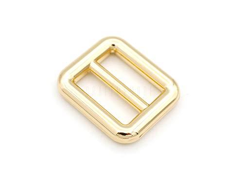 CRAFTMEMORE 6pcs Metal Slide Buckle Bag Belt Strap Keeper Slider Triglide Strap Adjuster Purse Making Accessories SCSL (5/8 Inch, Gold)