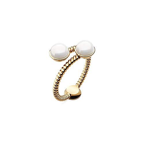PAUL HEWITT Damenring Gold Rope Pearl - Damen Edelstahl Ring (vergoldet), Fingerring für Frauen mit Perle