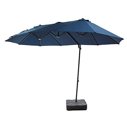 LOKATSE HOME 14.4 Ft Twin Head Outdoor Patio Market Large Rectangular Cantilever Hanging Umbrella with Crank & Weighted Base Stand, Set, Blue