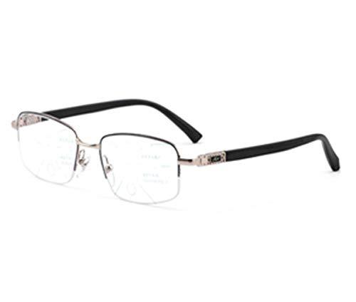 QKDSA Männliche und weibliche Lesebrille, Progressive multifokale Brille, intelligente, alte Zoom-Multifunktionsautomatik (Farbe : Silber, größe : +1.0X)
