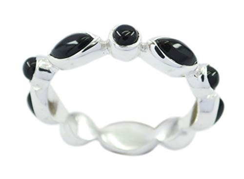 riyo indischer 925er Sterlingsilber-echter schwarzer Ring, schwarzer Onyx mit schwarzen Edelsteinen