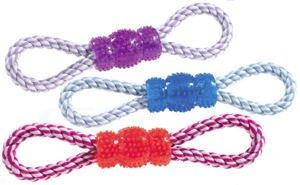 Classic Pet Products vinile e corda Tug Toy, Colori assortiti