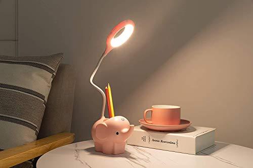 Little Lámpara De Escritorio De Elefante Con Puerto De Carga USB Lámparas De Mesa De Cuidado De Ojos LED Lámpara De Estudio Lámpara De Noche Regulable Lámpara De Escritorio LED Con Soporte Telefónico