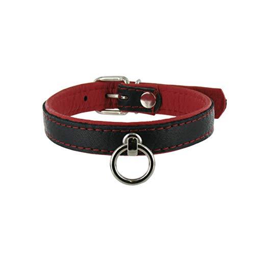 SiaLinda: Halsband echtes Elch Leder mit O-Ring, zweifarbig, schwarz/rot 20mm breit - Lange Länge
