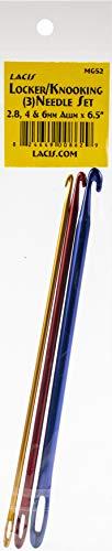 """Juego de agujas de aluminio Lacis Locker/Knooking de 6,5\"""" de largo tamaño 2,8 mm, 4 mm, 6 mm"""