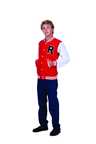RG Costumes Herren Jacke Letterman - Rot - Medium