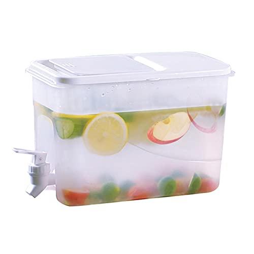 Jarra de Agua, Botella Nevera dispensador con Grifo Jarra para Zumo de limón, dispensador para Bebidas heladas con Recipiente, Tetera de Fruta, Cubo Fresco de Verano, 4L