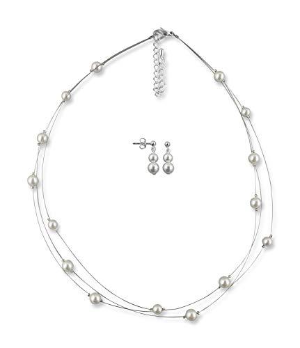 Rivelle Damen Brautschmuck Set creme Schmuckset Perlen Halskette Collier Ohrringe Schmuck Geschenkbox