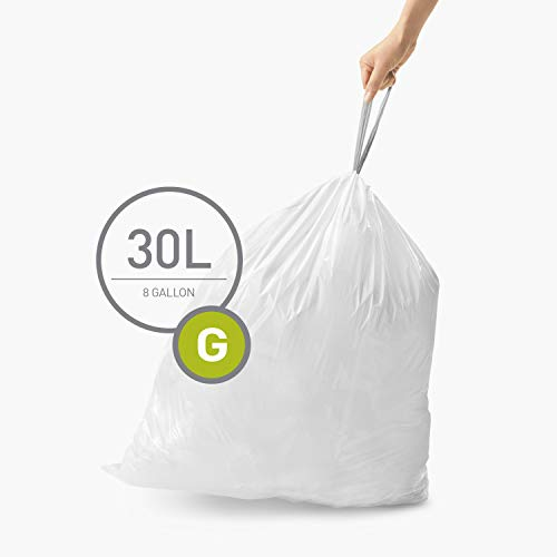 simplehuman Code G Custom Fit Drawstring Trash Bags, 30 Liter / 8 Gallon, White, 100 Count