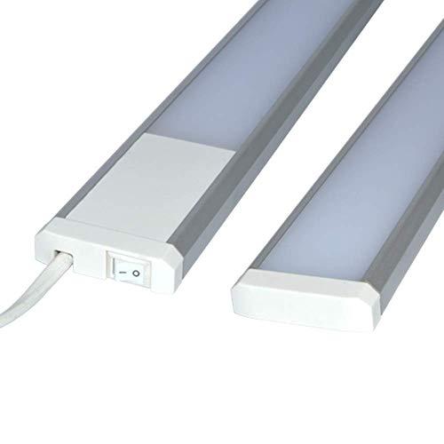 Trango LED Unterbauleuchte TG2533 Lichtleiste Küche 600mm lang 11W 230V titan/weiß inkl. ON/Off Schalter 3000K warmweiß
