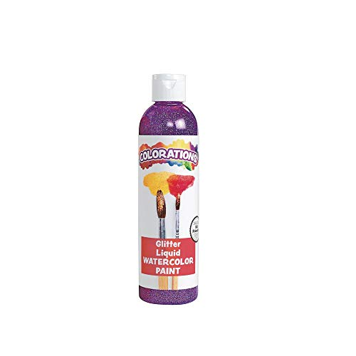 Colorations Liquid Glitter Watercolor Paint, Purple, Non-Toxic, Painting, Kids, Craft, Hobby, Fun, Water Color, Posters, Cool Effects, Versatile, Gift, 8 oz.