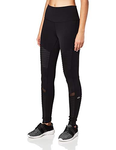 Alo Yoga Women's High Waisted Moto Legging, Black/Black Glossy, Medium