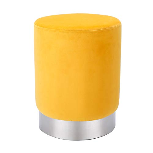 BIRDROCK HOME Round Yellow Velvet Ottoman Foot Stool – Soft Compact Padded Stool - Great for The Living Room, Bedroom and Kids Room - Small Furniture (Yellow)