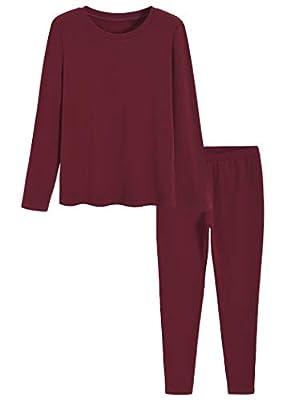 Latuza Women's Cotton Long Johns Fleece Lined Thermal Underwear S Wine