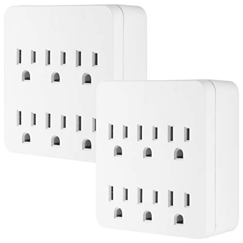 GE Pro 6-Outlet Surge Protector, 2 Pack, 3-Prong Wall Adapter, Charging Station, 1020 Joules Protection Rating, Automatic Shutdown, Sleek Design, White, 50051