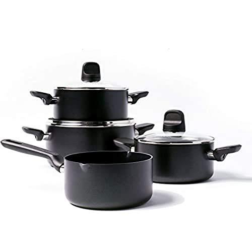 GreenPan Batería de Cocina Antiadherente de Aluminio con Revestimiento de Cerámica, Apta para Todo Tipo de Cocinas, Inducción, Horno y Lavavajillas, 4 pcs, Negro