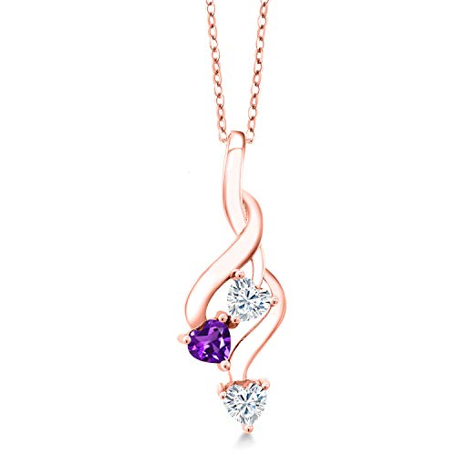 18K Rose Gold Plated Silver Pendant Forever Brilliant (GHI) Heart Shape 0.46ct (DEW) Created Moissanite by Charles & Colvard and Amethyst