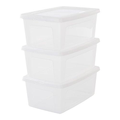 Iris Ohyama, set - 3 boîtes de rangement avec couvercle - Modular Clear Box - MCB-11, plastique, transparent, 11 L, 39,5 x 26,5 x 15,6 cm