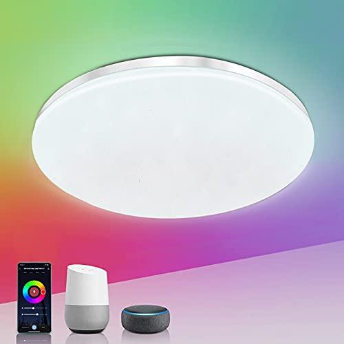 Plafon led RGB WIFI Lampara de techo inteligente 20W control remoto compatible con alexa, google home...25.8CM diametro