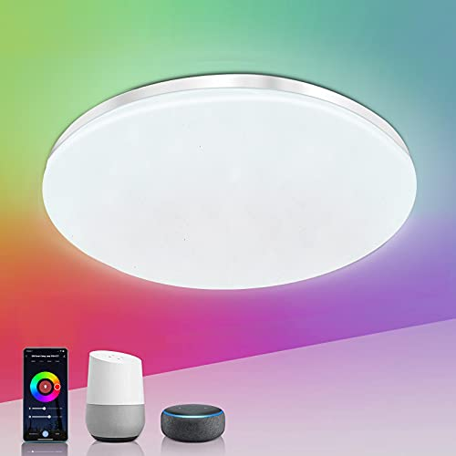 EXTRASTAR Smart Wifi Lampada da soffitto, 24W 2400lm Lampada da WiFi Luce Dimmerabile RGB Controllo vocale dimmerabile Multicolore Rotondo Plafoniere Supporto per Alexa Google und Alexa.