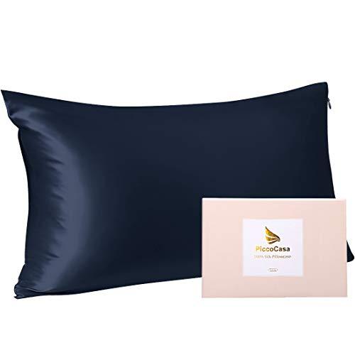 PiccoCasa Seide Kissenbezug 40x80 Kissenbezug aus 100% Seide 22 Momme kopfkissenbezug Haare und Hautpflege mit Reißverschluss & Geschenkbox Marineblau 40x80cm