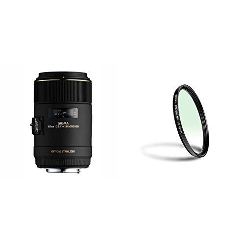 Sigma 105 mm F2,8 EX Makro DG OS HSM-Objektiv (62 mm Filtergewinde) für Canon Objektivbajonett & Walimex Pro UV-Filter Slim MC 62 mm (inkl. Schutzhülle)