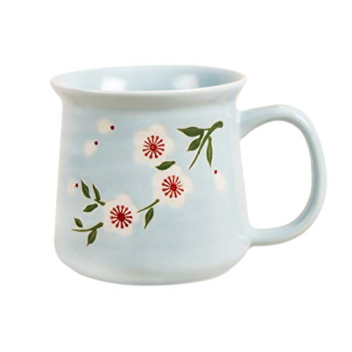 Chumbak Japanese Blossom Pastel Mug - Blue - Tea and Coffee Mug Ceramic Drinking Cup Dining and Tableware for Hot Beverages Breakfast Mug for Home Dishwasher and Microwave Safe 37x53x38