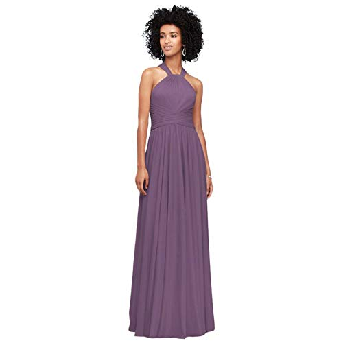 David's Bridal High-Neck Mesh Bridesmaid Dress with Full Skirt Style F19931, Wisteria, 0