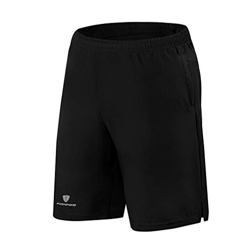 emansmoer Homme Quick Dry Breathable Training Fitness Running Sports Shorts Cycling Biking Basketball Short Pants(L, Black)