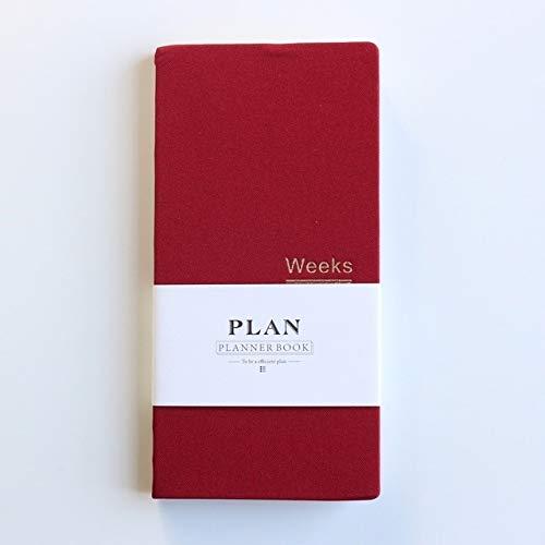 Escuela -Classic Planificador Tapa dura escuela de la oficina Planificador semanal Cuadernos Agenda de escritorio organizador personal, Tamaño: A6 18.9x9.4cm (gris) trabajo (Color : Red)