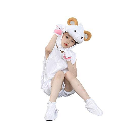 BaronHong Animal Sleepwear Niños Trajes adorables de Cabra Linda (Blanco, M)