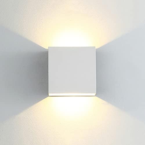 CYUaoao 1 Pieza de Aplique LED de Pared Interior/ Exterior 7W Aplique de Pared Blanco Cálido 3000K Lámpara de Pared LED Impermeable Ip65 para Dormitorio Salón [Clase de Eficiencia Energética A++ ]