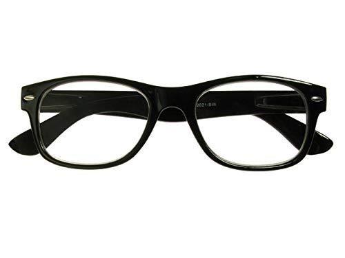 Gl2021 Billi B Noir brillant Forme carrée Lunettes de lecture unisexe Goodlookers + 1, 1,5, 2.0, 2.5, 3.0