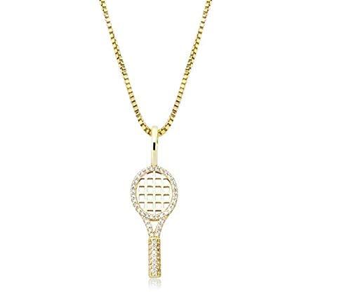 NCDFH Cubic Zirconia Silver Ice out Raqueta de Tenis Colgantes Collares para Mujer Joyería de Moda con Encanto Oro