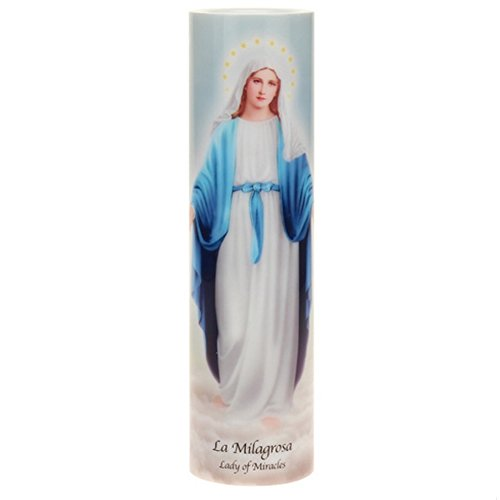 The Saints Collection Lady of Miracles LED Flameless Devotion Prayer Candle, Religious Gift, 4 Hour Timer for More Hours of Enjoyment and Devotion!