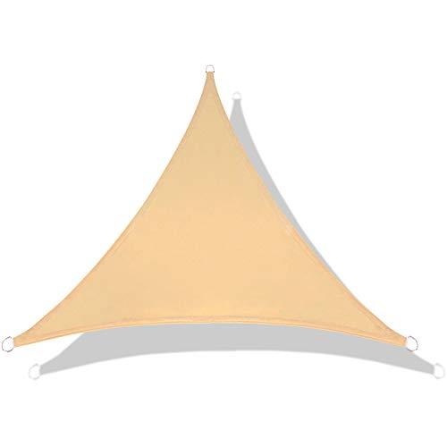 LOVE STORY Tenda da Vela Parasole Impermeabile(PES) Triangolare 3×3×3m Sabbia Protezione UV per Terrazza Campeggio Giardino Esterno