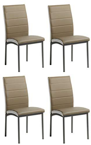 Miroytengo Pack 4 sillas Meli Camel Estilo contemporaneo Comedor Salon Polipiel Modernas Cocina 92x54x45