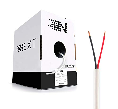 Next 16/2 Plenum Speaker Wire - 16 AWG/Gauge 2 Conductor - UL Listed in Wall (CL2P/CL3P/CMP) Rated - Oxygen-Free Copper (OFC) - 1000 Foot Bulk Cable Pull Box - White