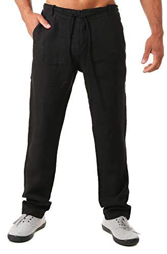 Young & Rich Herren Leinenhose Sommerhose 100% Leinen mit Kordelzug Leichter Tapered Legs T4080, Grösse:L, Farbe:Schwarz