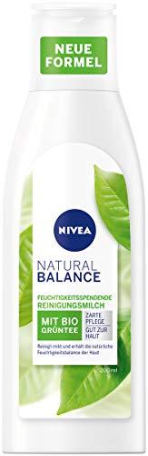 NIVEA Natural Balance Reinigungsmilch (200 ml), Gesichtsreinigung mit grünem Tee und wertvollem Rapssamenöl, Reinigungsmilch entfernt Make-up gründlich und pflegt