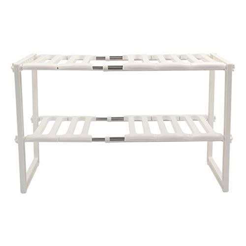 Keuken Organisatie en Opslag Manden Planken Beste Rek Organisator Verstelbare Wit 38X70x26cm Verwijderbaar Onder Spoelbak Tidy Shelf Unit, Wit