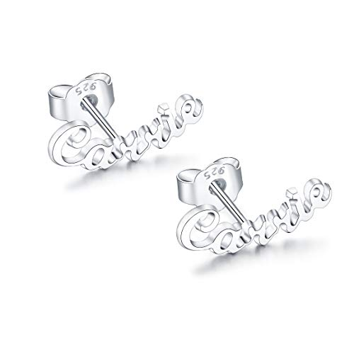 RESVIVI Sterling Silver Stud Personalized Name Earring Custom Made Any Name Earrings Customize Your Own Earring with Name Silver