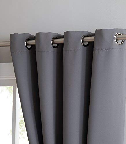 Nicole - Premium Thermal Insulated Blackout Curtain Panel - 8 Grommets - 1 Rope Tieback - 54 Inch Wide - 84 Inch Long (1 Panel 54W x 84L, Light Grey)