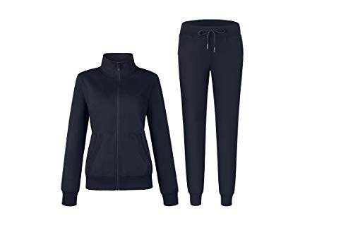 Womens Solid Cotton Sweatsuit 2 Piece Sports Active Casual Long Sleeve Sweatshirt and Sweatpants Zip up Tracksuits Navy Medium