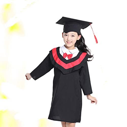 PRETYZOOM Vestido de Graduación para Niños Jardín de Infantes Disfraz de Graduación Vestido de Capucha Roja 2021 Suministros de Fiesta de Graduación Accesorios de Fotografía de 120Cm ( Sin