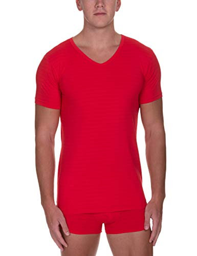 bruno banani Herren V-Shirt Check Line 2.0 Unterhemd, Rot (Rot Karo 1070), Large (Herstellergröße: L)