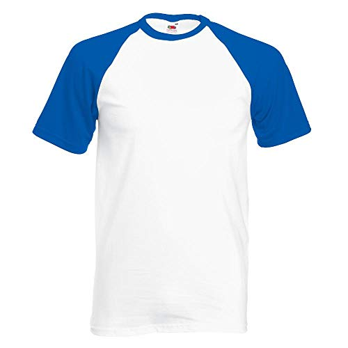 Fruit of the Loom - Kontrast T-Shirt 'Baseball T' Farbe White/Royal Blue Größe X-Large