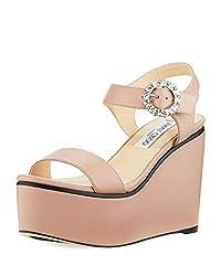 Beige Nylah Leather Wedge Platform Sandals